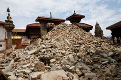 Nepal Earthquake 2015. MP012: Vatsala Durga temple in Bhaktapur temple completly destroyed by the earthquake at Bhaktapur Durbar Square, near Kathmandu, Nepal on Royalty Free Stock Photo