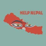 Nepal earthquake,Napal map with buddha eyes royalty free illustration