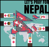 Nepal earthquake.pray for Nepal.people help nepal vector illustr Royalty Free Stock Photo