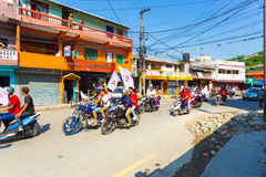 Nepal 2017 Elections Maoist Party Motorcycles Flag Stock Photography