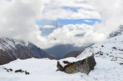 Nepal, emigrando en Himalaya, paisaje de la montaña cerca del pueblo de Machermo, 4500 metros sobre nivel del mar Foto de archivo libre de regalías