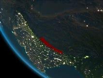 Nepal en la noche de la órbita stock de ilustración