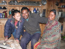 Nepal family from Bhimtang (in kitchen) Stock Photography