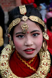 Nepal female dancer. A candid portrait of a young female dancer wearing traditional dress Royalty Free Stock Photos