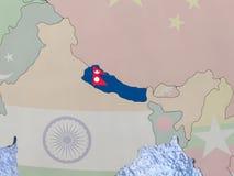 Nepal with flag on globe Stock Photo