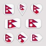 Nepal flaga wektoru set Nepalscy flaga majchery inkasowi Odosobnione geometryczne ikony Krajowych symboli/lów odznaki Sieć, sport royalty ilustracja