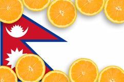 Nepal flagga i citrusfruktskivahorisontalram royaltyfria bilder