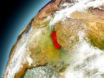 Nepal från omlopp av modellen Earth Arkivbild