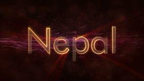 Nepal - glänzende Schleifungsländername-Textanimation stock video footage