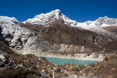 Nepal. Glacial lake at mountain Manaslu bottom Stock Image