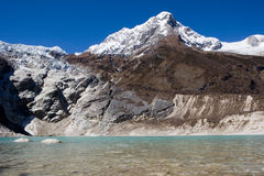 Nepal. Glacial lake at mountain Manaslu bottom Royalty Free Stock Photos