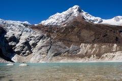 Nepal. Glacial lake at mountain Manaslu bottom Royalty Free Stock Photos