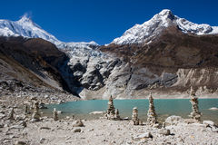Nepal. Glacial lake at mountain Manaslu bottom Royalty Free Stock Photo