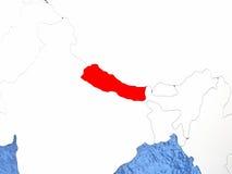 Nepal on globe Stock Image