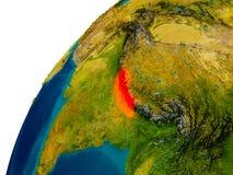 Nepal on globe Royalty Free Stock Photo