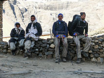 Nepal guides and tourist in Thorong High Camp, Nepal Stock Images