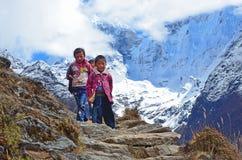Nepal, Himalaya, octubre, 18, 2013 Niños en un rastro de montaña en Himalaya imagen de archivo