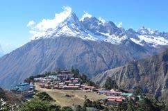 Nepal, Himalayagebergte, Boeddhistisch klooster in het dorp van Tenboche Royalty-vrije Stock Foto
