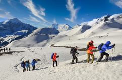 Free NEPAL, HIMALAYAS - 1 May 2013: Group Of Mountain Trekkers In Himalayas Stock Photography - 165064972