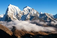 Nepal Himalayas mountains Evening view from Gokyo. Evening view from Gokyo Ri to Arakam Tse, Cholatse and Tabuche Peak - trek to Everest base camp - Nepal Royalty Free Stock Image