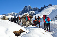 Nepal, Himalayas, October, 20, 2013. Tourists on a mountain trail in Himalayas stock images