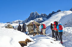 Nepal, Himalayas, october, 20, 2013. Tourists on a mountain trail in Himalayas royalty free stock photo