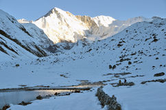 Nepal, the Himalayas, the view of the peak Cho Oyu, 8210 meters above sea level Royalty Free Stock Image