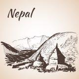 Nepal Himalayas. On white background Royalty Free Stock Photography