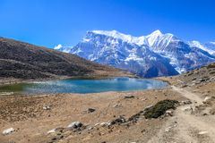 Nepal - Ice lake with the view on Annapurna Chain royalty free stock photo