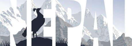 Nepal-Illustration mit Himalaja-monal vektor abbildung
