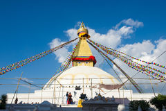 Nepal - 3 January 2017 :: The Wisdom eyes on Boudhanath stupa la Stock Image