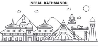Nepal, Kathmandu architecture line skyline illustration. Linear vector cityscape with famous landmarks, city sights Royalty Free Stock Photos
