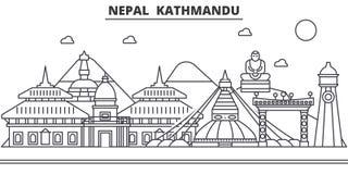 Nepal, Kathmandu Architecture Line Skyline Illustration. Linear Vector Cityscape With Famous Landmarks, City Sights Royalty Free Stock Photos