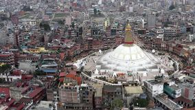 Nepal, Kathmandu. Boudhanath stupa. Aerial footage. Flying with drone above Boudhanath stupa in Kathmandu Nepal stock video footage