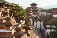 Nepal, Kathmandu, Darbar square, the old Royal Palace from the side of temple Taleju. In may 2015 square partially destroyed durin stock images