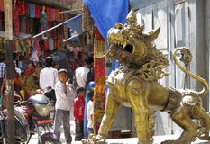 Nepal Kathmandu lion guardian Stock Photography