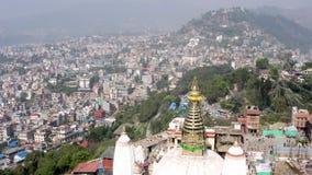 Nepal, Katmandu Templo de Swayambhunath Cantidad a?rea almacen de metraje de vídeo