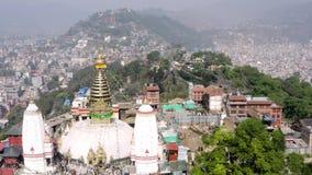 Nepal, Katmandu Templo de Swayambhunath Cantidad a?rea almacen de video
