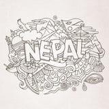 Nepal kraju ręki literowanie i doodles elementy Zdjęcie Royalty Free