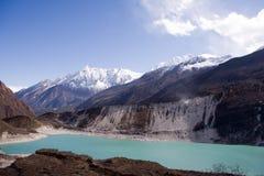 Nepal. Lago Glacial na parte inferior de Manaslu da montanha Foto de Stock Royalty Free