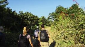 NEPAL, LISTOPAD - 11, 2018: Chodząca wycieczka turysyczna z przewdonikami przy Chitwan parkiem narodowym zbiory wideo