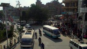 NEPAL, LISTOPAD - 11, 2018: Uliczny ruch drogowy w Kathmandu Odgórny widok zbiory