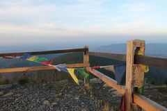 Nepal in Lysa-hora tibetian Flaggen lizenzfreie stockbilder