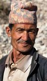 Nepal man with typical nepali hat on head Stock Photos