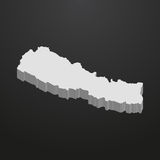 Nepal map in gray on a black background 3d Royalty Free Stock Image
