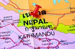 Nepal map. Macro shot of nepal map with push pin Royalty Free Stock Photos