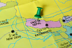 Nepal map. Macro shot of nepal map with push pin Stock Photos