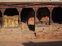 Nepal market selling pots and wheat Stock Photo