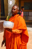 Nepal monks in bright orange clothes Stock Images