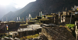 Nepal Mountain Village from rooftops stock photography
